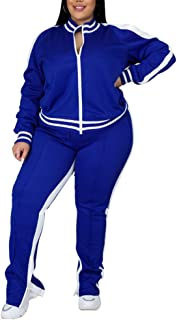 Ophestin Womens Plus Size 2 Piece Tracksuits Outfit Long Sleeve Jacket Skinny Sweatpants Set