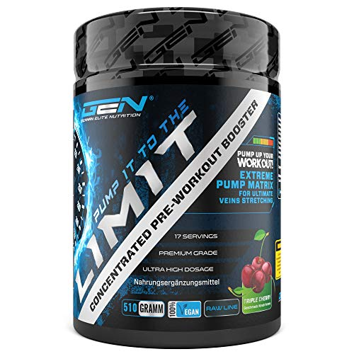 Pump it to the Limit - Pre Workout ohne Koffein - Citrullin + AAKG + Taurin + L-Ornithin + l-Norvalin + Glycerol - Hochdosiert - 510 g Pulver - Triple Cherry Geschmack