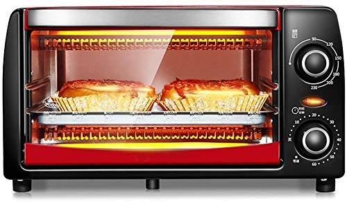 Mini 12L Four avec réglage de la température 0-230 □ et 0-60 minutes minuterie, 1050W double vitrage Porte Grille-pain rouge 8bayfa