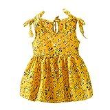 Zylione - Vestido infantil de verano para bebé, sin mangas, lazo, impresión de flores, vestido de princesa de 1 a 3 años de edad amarillo M
