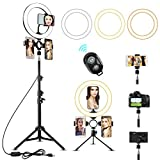 10' LED Selfie Ring Light with 2 Tripod Stand & 3 Cell Phone Holder 3 Lighting Modes 10 Dimmable Brightness for Live Streaming YouTube Video Photography Makeup Circle Light for iPhone Android Camera