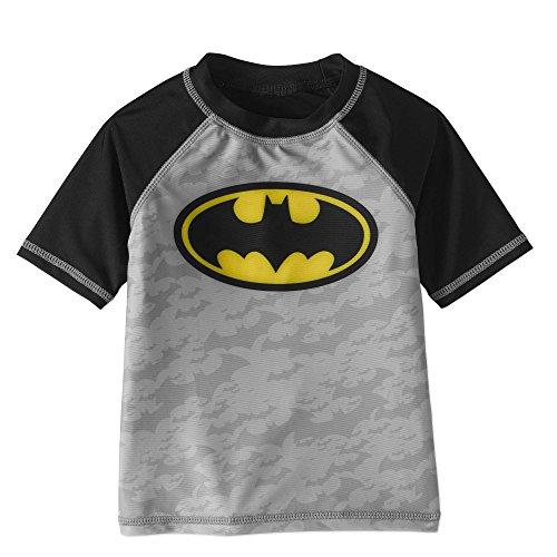 DC Batman Toddler Boys Rashguard Swim Top with UPF 50 Sun Protection (2t) Gray
