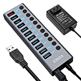 USBハブ3.0 電源付き VONCI 10ポート5Gbps高速 USB3.0ハブ の 拡張+ 1急速充電ポート usbポート usb hub アルミ製 独立スイッチ付 12V/4A ACアダプタ付き USB拡張