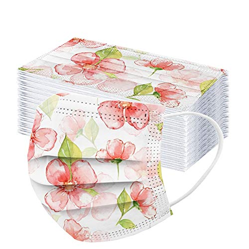 50pcs Floral Disposable Face_mask. with Designs for Women Girls Adults Cute Colored Paper_Face_mask for Coronɑvịrus Protection Breathable 3 Layers with Nose Wire for Outdoor (50, Pink #4)