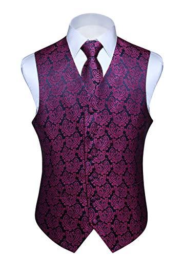 Hisdern Manner Paisley Floral Jacquard Weste & Krawatte und Einstecktuch Weste Anzug Set, Pink & Navy Blau, Gr.-4XL (Brust 57 Zoll)