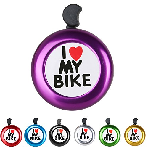 AD Purple Bike Bell - I Love My Bike Bell - Loud Aluminum Bike Horn Ring Mini Bike Accessories for Adults Men Women Kids Girls Boys Bikes