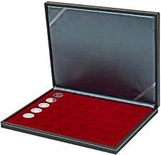Lindner 2364-2707E Coin case NERA M with dark red insert with 42 round compartments for coins with Ø 27,5 mm, e.g. for 5 EURO coins GERMANY