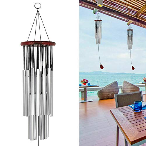 27 Tubes Handmade Wind Chimes,for Bereavement/Sympathy Gift Wind Chime,Outdoor for Garden,Yard,Patio and Lawn (Silver)