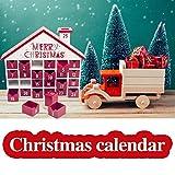 Fiaoen Calendario De Adviento House 3D Grande, Calendario De Adviento De Navidad De Madera con 25 Cajones para Decoraciones Navideñas, 11.8x12.6x2.3 Kind