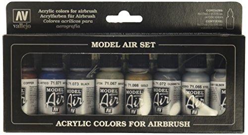 Vallejo-Set pittura acrilica, colori per aerografo, colori assortiti (confezione da 8)