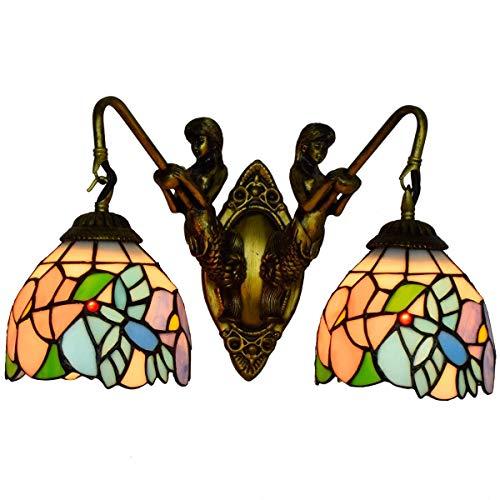 LONGWDS Lámpara de Pared Corredor Sirena Retro Doble británico Faros Pastorales de Aves Luces de Colores esmaltados decoración de la lámpara de Pared