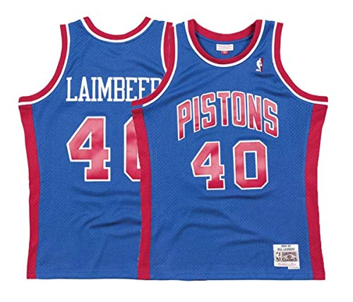 Mitchell & Ness Bill Laimbeer Detroit Pistons Men's Blue Throwback Jersey (5X-Large)