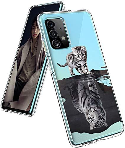 16Jessie Funda de silicona transparente compatible con Samsung Galaxy A52 5G, diseño de mármol, antigolpes, antiarañazos, transparente