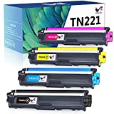 ONLYU Compatible Toner Cartridge Replacement for Brother TN221 TN225 Work with Brother HL-3170CDW MFC-9130CW MFC-9340CDW MFC-9330CDW HL-3140CW HL-3180CDW Printer (1 Black, 1 Cyan, 1 Magenta, 1 Yellow)