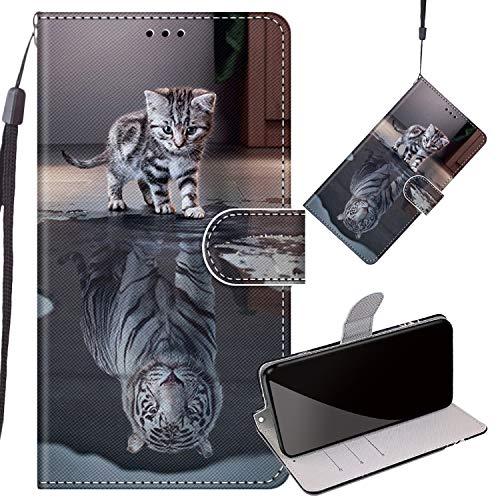 Yiizy Handyhüllen für LG K50 / LG Q60 / LMX525EAW, Tiger Ledertasche Flip Hülle Wallet Stylish mit Standfunktion Magnetisch PU Tasche Schutzhülle passt für LG K50 / LG Q60 Smartphone