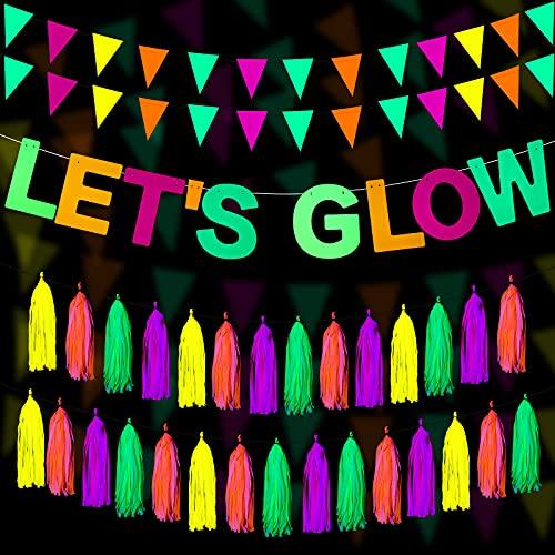 Glow Neon Party Supplies Includes Let's Glow Banner 20 Pieces Neon Paper Tassels and Neon Triangle Flags Bunting Glow Themed Party Hanging Decorations for Birthday Party Wedding Holiday Decoration