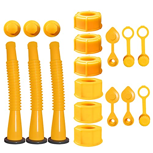 Gas Can Spout Replacement,Gas Can Nozzle,(3 Kit-Yellow) Suitable for Most 1 2 5 10 Gallon Oil cans.Durable.The Thickened Oil Gas can Cap and Thickened Gasket Will give Update Your Old Gas can