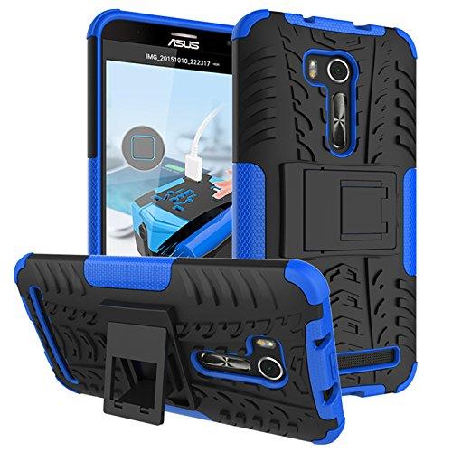 PAIPAIGUAN ASUS Zenfone Go ZB551KL(5.5 Zoll) hülle(Silikon Series) TPU + PC 2-in-1-Double-Layer-idealer Schutz,Stoßfest Handyhülle Drop Resistance Handys Schutz Hülle mit Ständer für-Blau