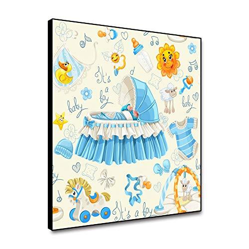 Miueapera 12x12 Pulgadas Lienzo de Dibujos Animados Arte de Pared Enmarcado Cirb y Ropa de bebé póster Impresiones de Lienzo Lindo Juguete de Oveja Imagen Pintura de Pared para Dormitorio de niños