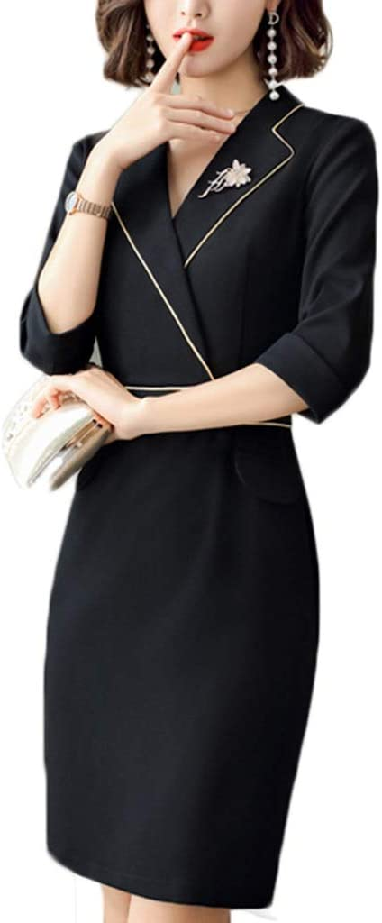 Dress Women's Cocktail Formal Swing Dress Overalls V-Neck Wild Professional Bag Hip Skirt 2 Colors 7 Sizes Sleeveless Slim Business Pencil (Color : A, Size : L)