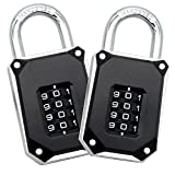 2 Pack FortLocks Gym Locker Lock - 4 Digit, Heavy Duty, Hardened Stainless Steel, Weatherproof and Outdoor Combination Padlock - Easy to Read Numbers - Resettable and Cut Proof Combo Code - Silver