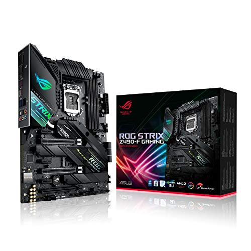 ASUS ROG STRIX Z490-F Gaming, Intel Z490 LGA 1200 ATX Gaming con 16 Fasi di Potenza, tecnologie AI, Intel 2.5 Gb Lan dual M.2 con dissipatori, USB 3.2 Gen 2, SATA e AURA Sync RGB