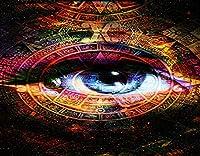 KAPANOU DIY5dダイヤモンドペインティングキット、古代マヤ暦、女性の目、宇宙の星、フレームダイヤモンドナンバーラインストーンペインティングキット、大人の子供向け手作りダイヤモンドアートクラフト 40x50cm