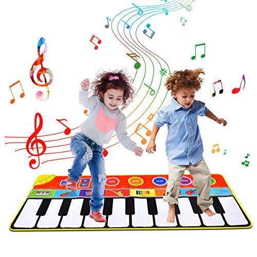 Tyhbelle Klaviermatte, Musikmatte Babys Tanzmatte mit 8 Musikinstrumente Spielmatte 5 Mode Dance für Jungen und Mädchen 148cm x 60cm (Rot)