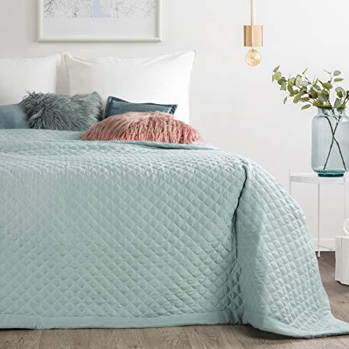 Eurofirany Decke Tagesdecke Dunkelrosa Bettüberwurf Überwurf Gesteppt Geometrische Muster Couchdecke Schlafzimmer Wohnzimmer Glamour Modern Chic, Mint, 220x240cm