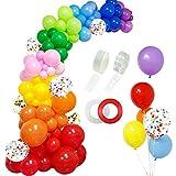 RUBFAC 129pcs Rainbow Balloons Garland Arch...