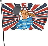 幸せな労働者の日の庭の旗、耐久性のあるポリエステルヤードの旗、3x5フィートの屋外の旗労働者の日の装飾休日、パーティー、スポーツを祝う (D)