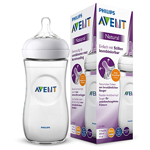 Philips Avent Natural Flasche SCF036/17, 330 ml, naturnahes Trinkverhalten, Anti-Kolik-System, transparent, 1er Pack