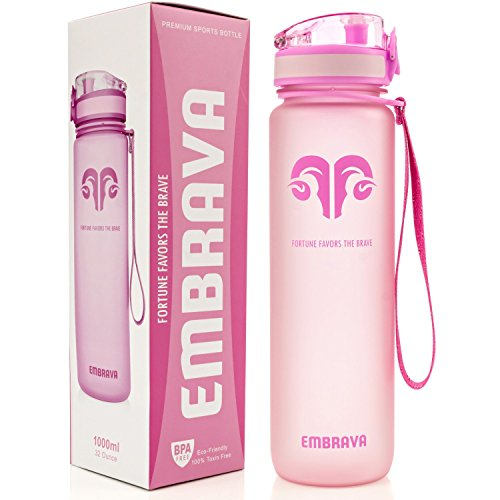 Embrava Best Sports Water Bottle - 32oz Large - Fast Flow, Flip Top Leak Proof Lid w/One Click Open - Non-Toxic BPA Free & Eco-Friendly Tritan Co-Polyester Plastic (Pink)
