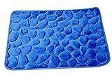 Hogar textil Homeya Alfombra de Baño Antideslizante con Memory Foam Efecto Acolchado Nubes, con diseño de Forma de Rocas Alfombrilla de Baño Microfibra Suave Absorbente Moquetas (50_x_70_cm, Azul)