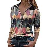 Camiseta de Manga Larga para Mujer, Solapa Estampado geométrico Cremallera Tops con Cuello en V Blusa Holgada con Bloques de Color Henley Camisa Ajustada con Bloques de Colores