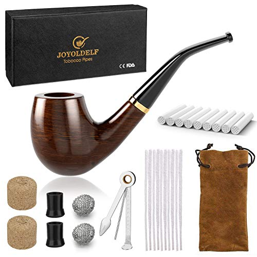 DIMJ Holz Tabak Pfeifen Set - gebogen Ebenholz Pfeife gebogen mit Rohrständer Halter und Rauchen Zubehör & mit Geschenkbox (Tabak Pfeifen Set)