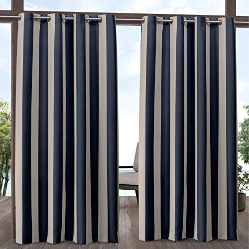 Exclusive Home Curtains Canopy Stripe Indoor/Outdoor Grommet Top Curtain Panel Pair, 54x96, Navy/Sand
