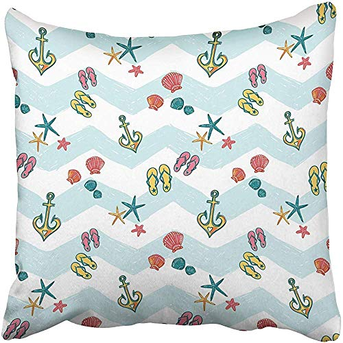 CHSUNHEY Dekor Kissenbez¨¹ge Cushion Cover Sketched Starfish Anchor Seashell Flip Flop Sea Summer Ocean Beach Party Marine Pillowcase Case 18x18 inch,Eco-Friendly Print