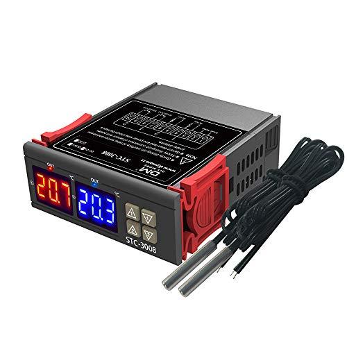 Aideepen STC-3008 DC 12V LED doble pantalla rojo y azul termostato bidireccional sonda dual micro termómetro controlador de temperatura