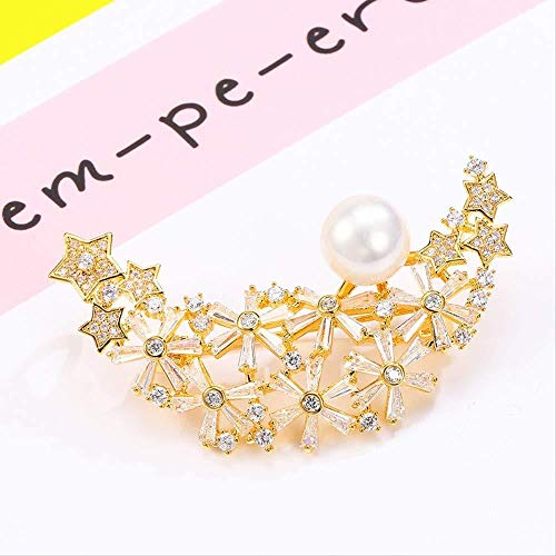 JXtong2 Broche Star Hold Moon Stone Pearl Broche Simple Cardigan Pin Accessoires à la Mode