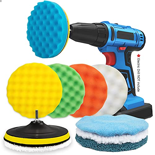 HUSTON LOWELL 7 Inch Car Polishing Pad Kit 11 Pieces Large Size Buffing Pads Car Foam Buffing Sponge Kit Polish Pads Wax Buffer Polisher Attachment for Drill(Electric Drill is NOT Included)