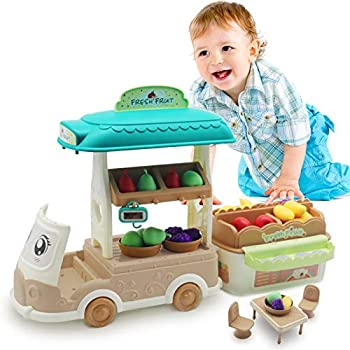 Toys Play Kitchen Food Truck for Kids Fruit Stand Basket Mini Shopping Cart Pretend Grocery Store Playset Multifunction Scale Gift Girls and Boys Ages 3,4,5 Years Old Up