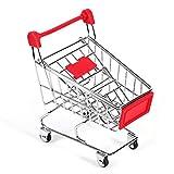 Belissy Juguete para loros, periquitos, bugie cockatiel, herramienta de crecimiento inteligente, supermercado, cesta de la compra, color rojo