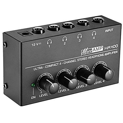 Neewer Super Compact 4-Channel Stereo Headphone Amplifier with DC 12V Power Adapter for Sound Reinforcement, Studio, Stage, Choir, Personal Recording, Features Ultra Low Noise (Original Version)