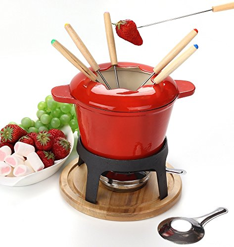Virklyee Fondue Set Keramik Cheese Gusseisen von 6 Gabeln/DIY Fondue Set Chocolate