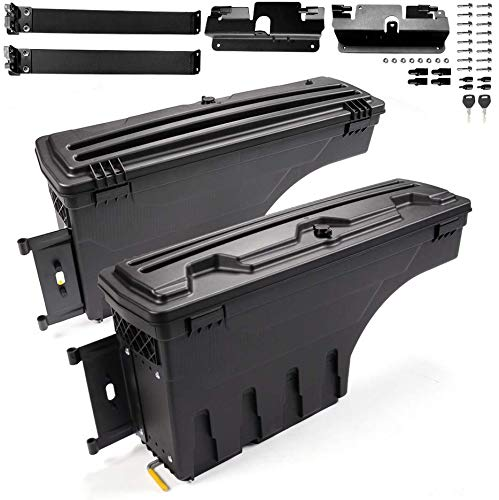 2Pack Lockable Truck Bed Storage Box Toolbox Compatible For Chevy Silverado /Compatible For GMC 2007-2018 Sierra 1500 2500 HD 3500 HD Rear Left+Right Swing Case Tool Box