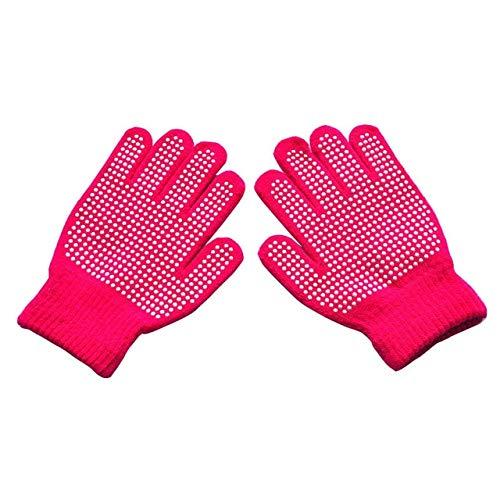 Guantes de Punto de Invierno a la Moda para niños Guantes de Punto con Estampado Bonito para niños de CincoDedos Guantes de Punto para Deportes al Aire Libre-Rose Red 1