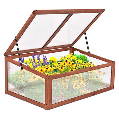 """Giantex Garden Portable Wooden Green House Cold Frame Raised Plants Bed Protection (39.3""""X24.8""""X15.1"""")"""
