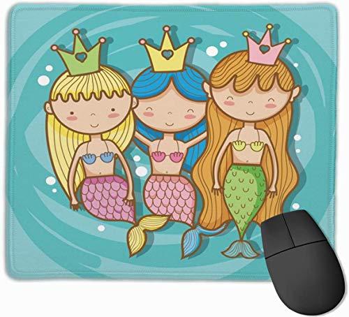 Buntes Meerjungfrau-Mauspad für Laptop Rechteckiges rutschfestes Gaming-Mousepad genähte Kanten Personalisiertes lustiges Bürogeschenk