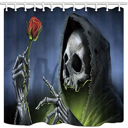 mintlmk Death douchegordijnen Skeleton gehouden een roos Terror schedel polyester stof badgordijn badkamer douchegordijn Set met haken 71X71in badkamer accessoires